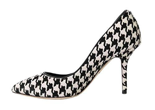 Dolce & Gabbana White Black Hair Leather Pumps
