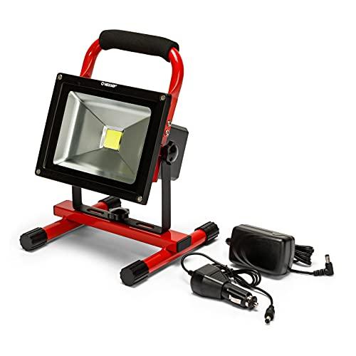 Velamp IR867 Lampe de travail, projecteur de chantier LED rechargeable 1200lm, 20W, support orientable. Pour le bricolage, garage, randonnées, camping, chasse, Aluminium, 20 W, Rouge