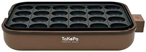 APIX たこ焼き器 【TaKoPa】 24穴 平面プレート・レシピ付き ブラウン ATM-024-BR