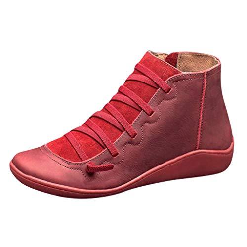 Frauen Booties Beiläufige Warme Plus Samt Dicke Runde Kappe Lace Up wasserdichte Seitenreißverschluss Stiefel Kurze Schuhe Stiefeletten(40 EU,Rot)