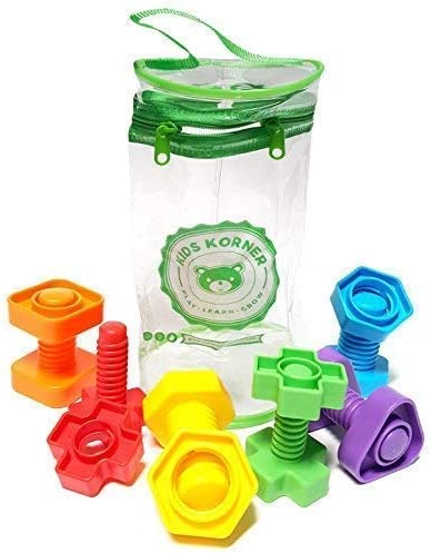 Jumbo Lacing Beads For Toddlers and Nuts & Bolts | 2-in-1 Montessori Educational Preschool Toys for 2 Year Old - Matching Fine Motor Skills Toddler Games with Toy Storage & Learning Activities eBook