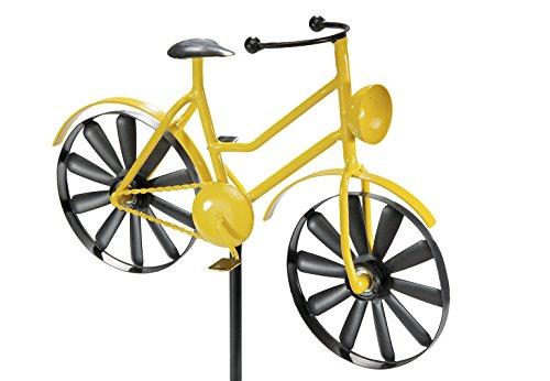 Kobolo Gartenstecker Dekostecker Windrad Yellow Bike aus Metall mit 2 Windrädern