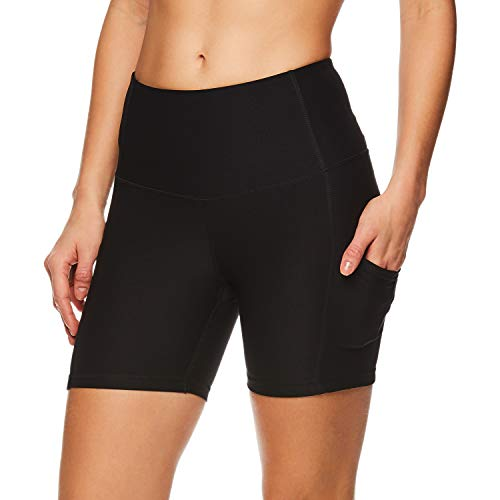 Reebok Women's Compression Running Shorts - High Waisted Performance Workout Short - High Rise Short Black, Small