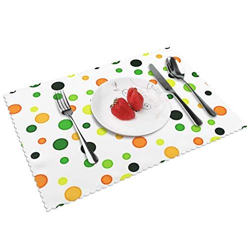Manteles Individuales Polka de Lima limón Fresco, Mantel Individual Antideslizante Resistente Al Calor Salvamanteles Juego De 4 para La Mesa De Comedor De Cocina, 45x30 Cm