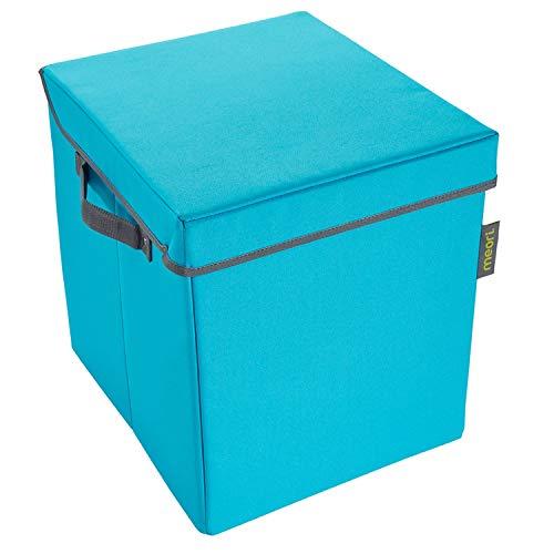 Meori Faltbare Aufbewahrungstruhe Small Azur Lining in Marine Blau Kiste mit Deckel Stapelbox Organizer Verstauen Truhe, Polyester