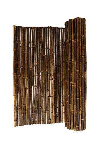 DE-COmmerce Hochwertiger Wind - und Sichtschutz Black I Bambus Blickschutz Garten, Terrasse, Balkon, Trennwand, Raumteiler I Bamboo Sichtschutzzaun mit geschlossenen Rohren 180 x 250 cm