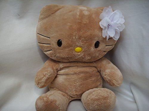 """Build a Bear Workshop Hello Kitty Large Sunkissed Tan Gingerbread 16"""" Sanrio Plush Stuffed Toy with White Flower Bow"""