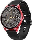 MHPO Smartwatch, für Damen, IP68, wasserdicht, voller Touchscreen, Herzfrequenzmesser, Blutdruck, Smartwatch, Herren, Aluminiumgehäuse, Silikon, Schwarz / Rot