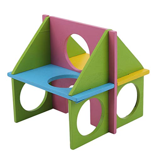 ULILICOO Hamster Nest farbige hölzerne Hamster Kletterhaus versteckte Spielzeug für Chinchillas, Rennmäuse und Zwerghamster (Multicolor)