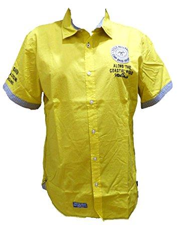 Camp David Herren Kurzarm Hemd Shirt Snapshot Mallorca (M, Yellow)
