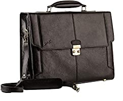 Seven K Genuine Leather Engraved Logo Flap-Front Briefcase with Shoulder Strap for Men - Black