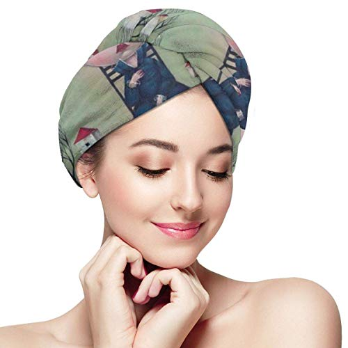 Weird Kid Portable Dry Hair Hats All-Match Hair Towel Microfiber Quick Dry New Era Hats for Womens to Enjoy The Shower