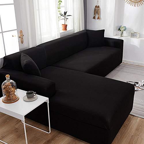Funda de Sofá Elástica Negro 4 plazas, Fundas de sofá Todo Incluido de Color sólido, Fundas de sofá elásticas Toalla de sofá Esquinero Chaise General 235-300cm 1 PCS