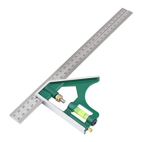 Regla de combinación, regla de ángulo cuadrado de combinación multifuncional de 300 mm 45/90 grados con herramientas de carpintero de nivel de burbuja