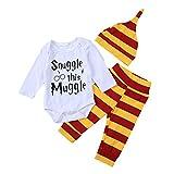 Anywow 3 Stücke Säugling Brief Gedruckt Onesies Hosen Hut Kleidung Set Baby, Gelb, Gr.- 6-12M/ Etikettengröße- 80
