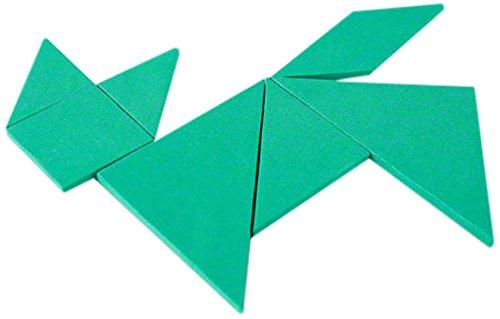 First4magnets G-1 groene pedagogische tangram - logo-puzzel & mathe-spel (1 verpakking), zilver, 25 x 10 x 3 cm