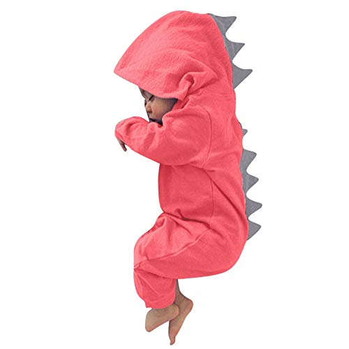 HWTOP Baby Junge Mädchen Jumpsuit Dinosaurier Kapuze Strampler Romper Outfits Bekleidungsset, Watermelon Rot-5, 0-3 Monate