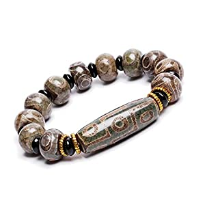 ZenBless Natürliches, grünes tibetisches Armband mit 9 Augen, Dzi-Perlen, Fengshui-Amulett-Armreif, zieht positive Energie und Glück an.