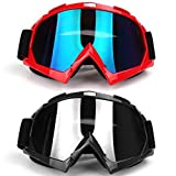 Freehawk Motorcycle Goggles Adult ATV Dirt Bike Off Road Racing MX Riding Goggle (1 Black Frame + 1 Red Frame)