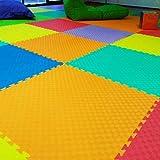 Dabuty Online, S.L. Alfombra de Juegos de Espuma EVA; 9 Piezas de 30 x 30cm; Baldosas Puzzle Multicolores – Una Zona de Juegos para bebés y niños Brillante y Segura