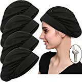 4 Pack Chef Hat Kitchen Cooking Chef Cap Adjustable Food Service Hair Nets Reusable Washable Mesh Bouffant Beanie (One Size, 4 Pack-Drawstring Black)