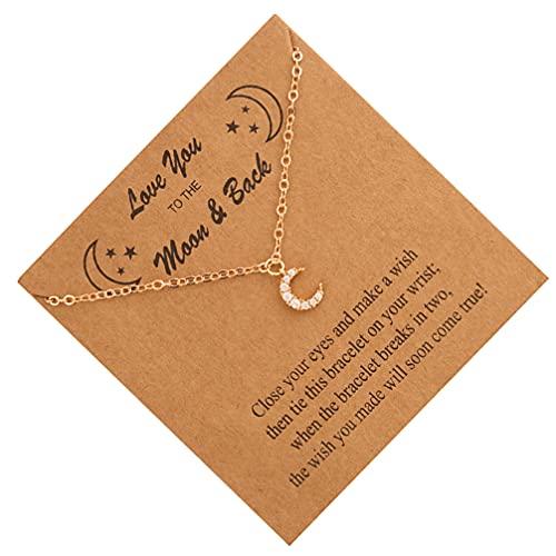 Holibanna Colar de lua feminino Love You To The Moon And Back Colar delicado gargantilha de estrela para mulheres