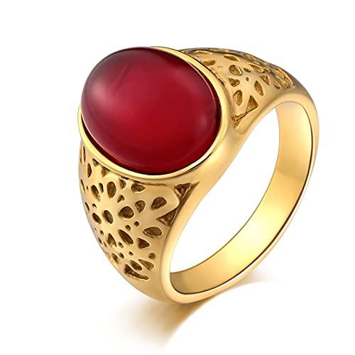 Socoz Anillo de hombre de acero, vacío, ovalado, rojo, anillos de boda de plata