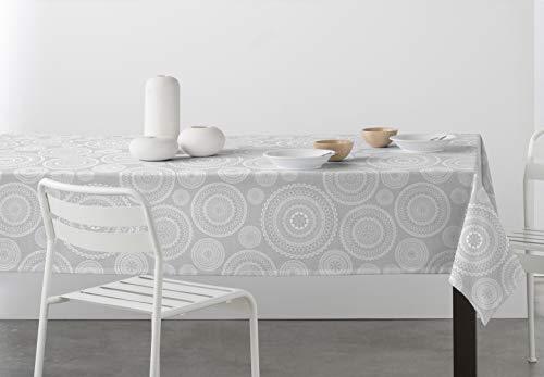 DHestia - Mantel Antimanchas Resinado con Teflón Limpieza Fácil Estampado Mandala (140x250 cm, Gris)