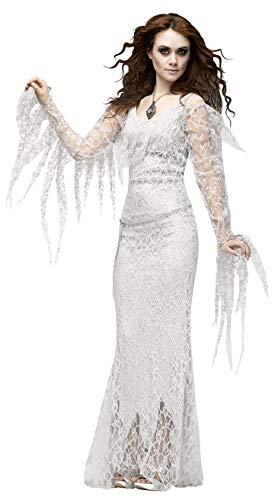 CWZJ Halloween Cosplay Disfraz Mujer Horror Novia Fantasma Traje Lechuga Romana Traje Disfraces Fiesta Disfraces Cosplay Adulto Halloween Carnaval Fiesta Tema,White,L