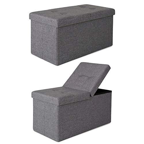 dibea SO00476, Sitzhocker Leinen, Sitzbank mit Klappdeckel, 76 x 38 x 38 cm, grau