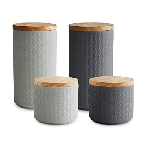Keramik Vorratsdosen 4-tlg. Set mit Holzdeckel Grau, Luftdichter Kautschukholz-Deckel, Aufbewahrungsdosen, Frischhaltedosen
