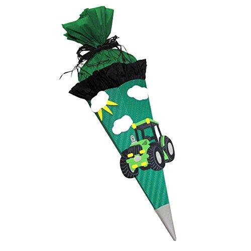 Schultüte Bastelset Traktor grün - Zuckertüte - aus 3D Wellpappe, 68cm hoch
