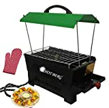 Hot berg Indoor/Outdoor Electric & Charcoal (2-in-1) Barbeque Grill Green Hut Shape Colour with Tong,Glove,6 Wooden Handle Skewers