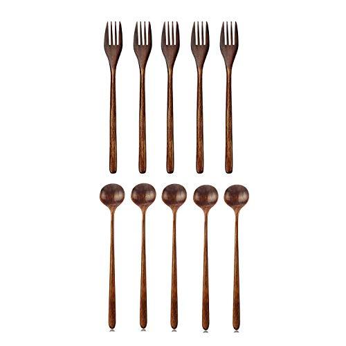 Vrttlkkfe Tenedores de madera, 5 piezas de madera japonesa ensalada tenedor y cucharas largas de madera, 5 piezas estilo coreano 10.9 pulgadas