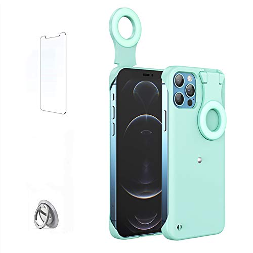 HPHRE Phone Case Built-in Selfie Ring Light for iPhone XR, LED Illuminated Selfie Light Up [Rechargeable] Luminous Flashlight Cellphone Case Cover for iPhone XR (Blue)