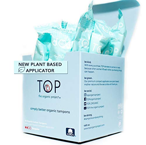 TOP Certified Organic Regular Cotton Tampons | *New* Plant Based Applicator Comfort amp Feel of Plastic | Unscented Dye amp Chemical Free EcoFriendly Superior Leak Protection 16 Count