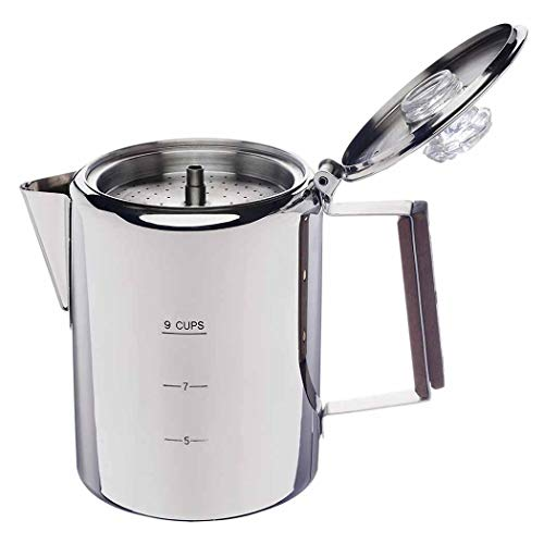 APOXCON French Press Coffee Maker Percolator Pot 304 Stainless Steel  Kettle Fast Brew Stovetop for Traveling Outdoor Camping  9 Cups