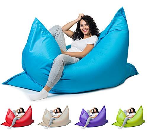 sunnypillow XL Sitzsack, Riesensitzsack Outdoor & Indoor 100 x 150 cm mit 140L Styropor Füllung Sessel für Kinder & Erwachsene Sitzkissen Sofa Beanbag viele Farben und Größen zur Auswahl Blau