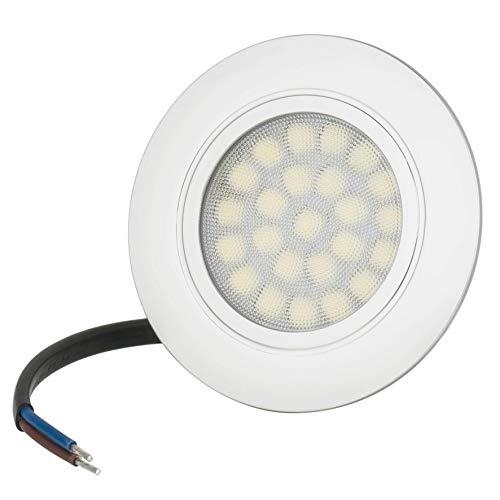 LED Einbauleuchte TREVI 4Watt 230Volt IP44 Möbelleuchte Möbeleinbauleuchte Ultra Flach 20mm EEK A++ Rostfrei Kunststoff Einbaustrahler 300Lumen (Tageslichtweiß 6500K)