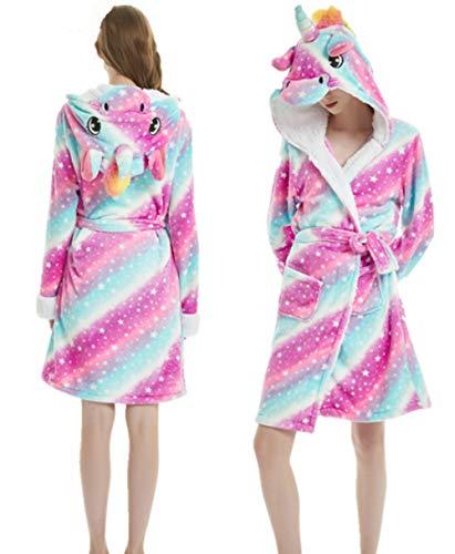 Woneart Albornoz para Mujer Nia Nios Unicornio Ropa De Dormir con Capucha Bata Camisones Loungewear Ropa Disfraz (Medium for 165cm-175cm, Starry Sky)