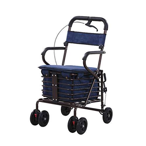 Rollators Walkers leggero tubo d\'acciaio pieghevole a quattro ruote deambulatore Walker con sedile imbottito Carry Cestino E sistemazione chiudibile girello ortopedico RVTYR (Color : A)