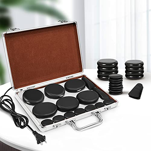 Hot Stones Massage Set, Electric Basalt Hot Stones with Heater Kit, for Professional or Home spa,...
