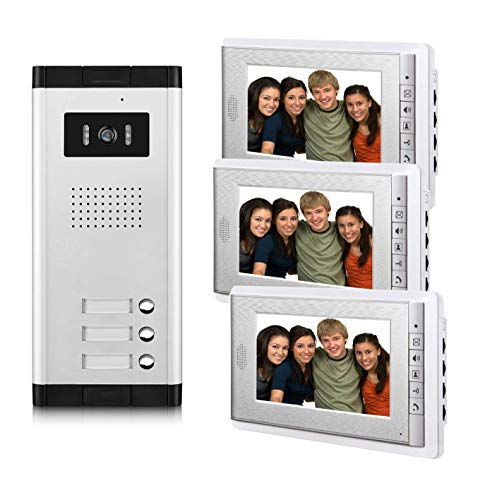 AMOCAM 3 Units Apartment Video Intercom System, Wired Video Door Phone Kit, 1...