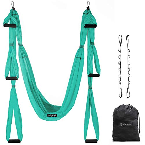 Aerial Yoga Swing  Ultra Strong Antigravity Yoga Hammock/Trapeze/Sling for Air Yoga Inversion Exercises  2 Extensions Straps Included Turquoise
