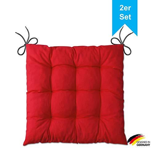 LILENO HOME 2er Set Stuhlkissen Rot (40x40x6 cm) - Sitzkissen für Gartenstuhl, Küche oder Esszimmerstuhl - Bequeme UV-beständige Indoor u. Outdoor Stuhlauflage als Stuhl Kissen