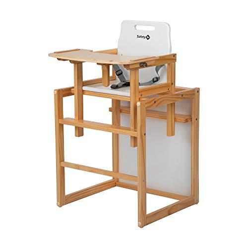 Safety 1st Cherry, 2-in-1 Hochstuhl aus Holz, der praktische Baby Hochstuhl mit 3-Punkt-Gurt kann sich in Stuhl und Tisch verwandeln, nutzbar ab ca. 6 Monaten bis ca. 6 Jahre, natural wood