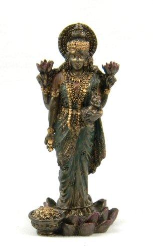 Hindu-Göttin Lakshmi Bronze-Finish Statue Figur Skulptur