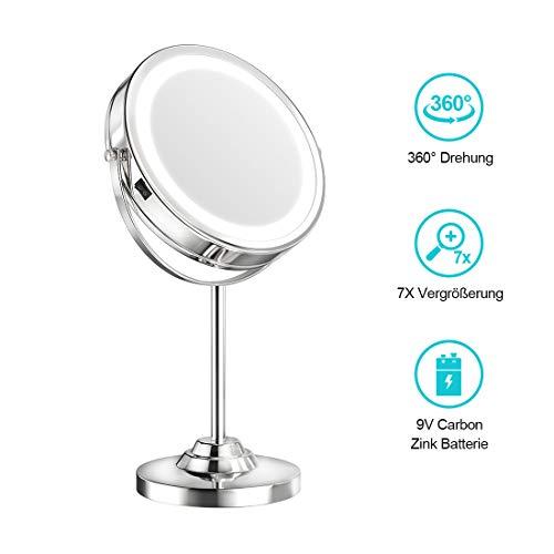 welmax Kosmetikspiegel mit LED Beleuchtete und 1-/ 7-facher Vergrößerung Schminkspiegel mit Licht 360 Grad Drehbare Doppelseitiger Make-Up-Spiegel mit Blendfreier Beleuchtet Verchromt