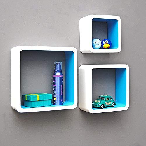 El estante de la pared del estante del cubos de tres capas, el estante de la pared es adecuado para la colocación en la sala de niños, el baño, la oficina,Blue and White