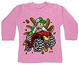Hariz - Camiseta de manga larga para bebé, diseño de triciclo salvaje, coche y policía Plus, tarjeta de regalo, color rosa 6-12 meses